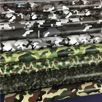 15 Kinds Premium Camo Vinyl Car Wrap Black White Blue Red Green Camouflage Film Sticker For Car Scooter Motorcycle Decoration