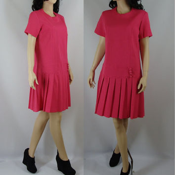 Vintage Mod Dress, Drop Waist Hot Pink Mod Dress, Large, XL, Sixties Dress