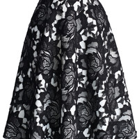 My Dear Roses Lace A-line Midi Skirt in Black Black