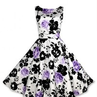 Anni Coco Women's Printing 1950s Vintage Rockabilly Swing Dresses