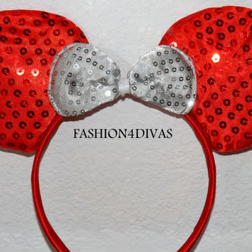 Minnie Mouse Ears Headband Red Ears white Bow Mickey Mouse Ears, Disneyland, Disney World, Holiday Mouse Ears  FAST SHIPPING