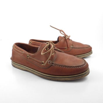 Leather Boat Shoes Vintage 1980s Norsport Brown Lace up Boat Shoes men's size 8 1/2