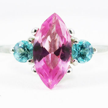 Pink Sapphire Marquis Apatite Accent Gemstone Sterling Silver Ring