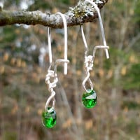 Green Swarovski Earrings in Silver / Silver Plated Kidney Earrings with Swarovski Crystals