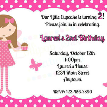 Printable Pink Cupcake Fairy Girls Birthday Invitations