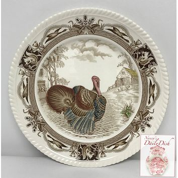 Antique Johnson Brothers Brown Transferware Barnyard King Tom Turkey Plate Thanksgiving Dishes