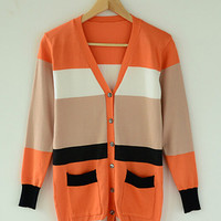 Orange Striped Long Sleeve Knitted Cardigan