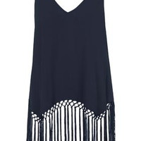 Fringe Hem Scoop Vest - Navy Blue