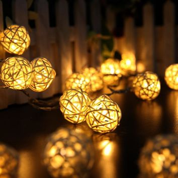 Christmas Lights 2M 20 LED Lights Rattan Balls String Lights Garlands