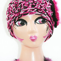 Ladies Pink hat Cloche crochet flower accent hot pink and black. Valentine gift Custom colors available.