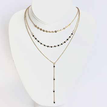 Look Divine Black Layered Necklace in Gold