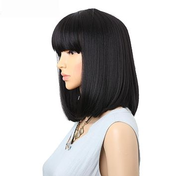 Bob Synthetic Wigs With Bangs  Heat Resistant