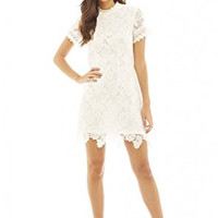 Cream High Neck Short Sleeve Lace Mini Dress