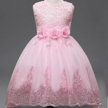 Hot party girl dress children costume princess lace dresses for little girls sequin dress Children clothes up for girls DS07