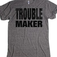 Trouble Maker-Unisex Athletic Grey T-Shirt