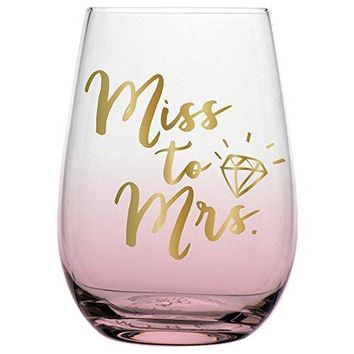 Miss to Mrs Stemless Wine Glass Wedding or Engagement for the Bride with Gold Lettering 20 Ounce