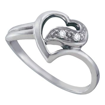 10kt White Gold Womens Round Diamond Simple Heart Ring 1/20 Cttw
