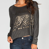 Hip Ethnic Foil Womens Tee Charcoal  In Sizes