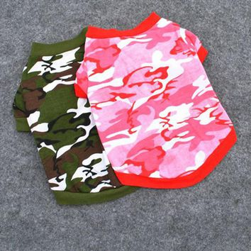 Pet Dog Cat Camo Clothing Cotton Print Hoody Apparel Puppy Doggy Camouflage Coat T-shirt XS-L