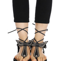 ROMWE Hollow T-shaped Lace-up Black Flat Sandals
