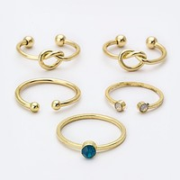 CRYSTAL & LOVE KNOT RINGS SET