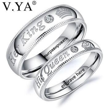 Cool V.YA Fashion DIY Custom Engrave Couple Jewelry Rings Her King and His Queen Stainless Steel Wedding Rings for Women Men JewelryAT_93_12