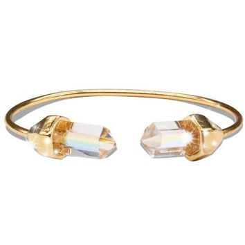 Iridescent Gold Bangle Quartz Stone Bangle Bracelet