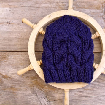 Women's Chunky Cable Knit Hat in Dark Navy Blue, Slouchy Beanie