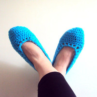 Cozy Basic Slippers Crochet Flats Soft and Comfortable Tourquise Indoor Slippers House Shoes Crochet Women Men Shoes Gift Ideas