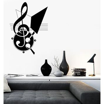 Vinyl Large Decal Wall Sticker Abstract Music Theme Treble Clef Notes (n640)