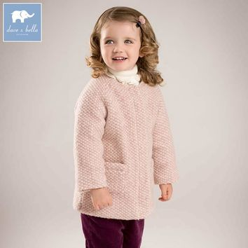 DB5694 dave bella autumn winter baby girls wool jacket children fashion outewear kids toddler high quality coat