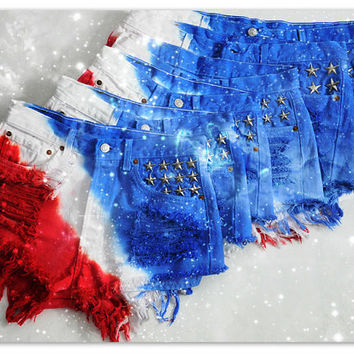 Diagonally dyed AMERICAN FLAG High or Low waisted shorts with star studs in pocket