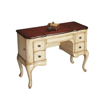 Traditional Cherry and Cream Vanity Dressing Table