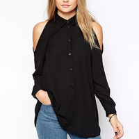 Off Shoulder Long Sleeve Shirts, Chiffon Tops