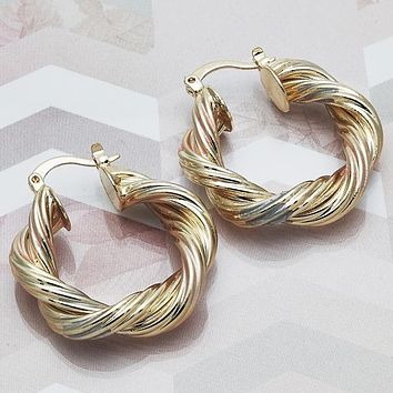 Gold Layered Women Twist Medium Hoop, by Folks Jewelry