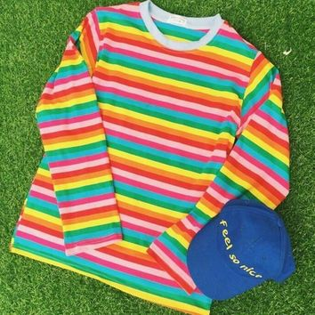 COLORFUL RAINBOW STRIPE LONG SLEEVE TEE