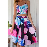 Stylish Spaghetti Strap Sleeveless Tank Top + High-Waisted Floral Print Skirt Twinset For Women