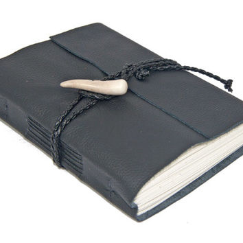 Black Leather Wrap Journal with Antler Closure - Ready to Ship -
