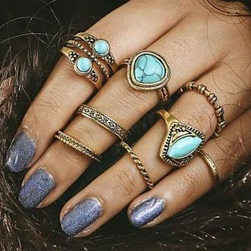 Turquoise & Gold Rings