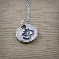 Tiny Om Pendant Necklace - Fine Silver Om Necklace - Sterling Silver - Yoga Gift - Meditation Gift for Him or Her - Aum Jewelry - Mantra