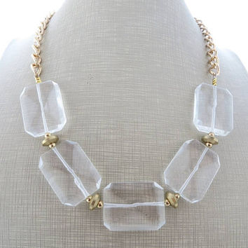 Crystal rock necklace, chunky necklace, clear stone necklace, big bold necklace, gemstone choker, beaded necklace, modern jewelry, gioielli