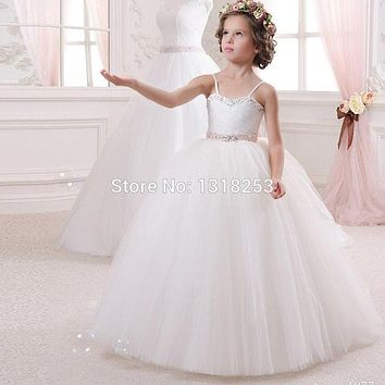White Flower Girl Dresses Tulle Little Girls Beauty Pageant Princess Dress First Communion Kids Prom Ball Gown Cheap robe petite