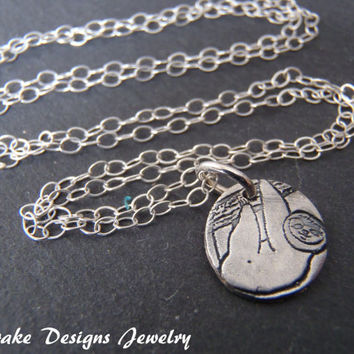Little sloth necklace eco friendly sterling silver