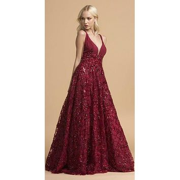 Burgundy Prom Ball Gown with Sequins and Appliques