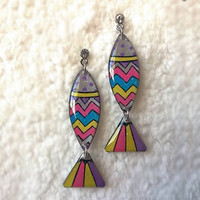 COLORFUL CHEVRON&STRIPE FISH EARRING FOR WOMEN