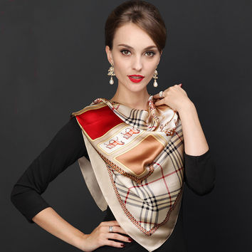 Women's Silk Scarf Printed Autumn Winter Mulberry Silk Large Square Scarves Printed All-match Quality Large Khaki Plaid Scarves