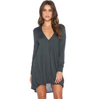 Hot Sale Winter Irregular V-neck One Piece Dress [6338696580]
