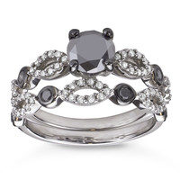 Silver 1 1/2ct TDW Black and White Diamond Bridal Ring Set (H-I, I1-I2) | Overstock.com