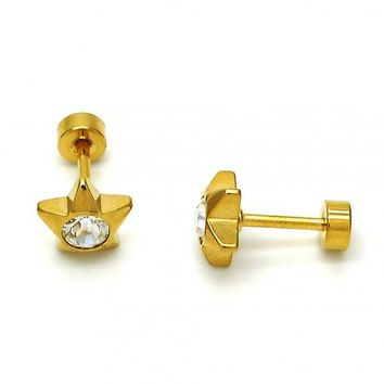 Stainless Steel Stud Earring, Star Design, with Crystal, Golden Tone