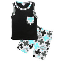 Summer 2016 New baby Boys Toddler Sleeveless Vest Tops+Pants 2pcs Outfits Clothing Set 1-3Y